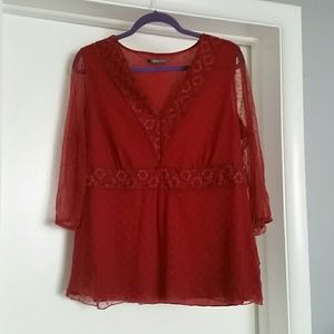 Gorgeous maroon lace blouse